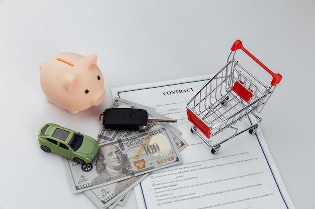 Acheter ou vendre une voiture, acheter ou louer un service automobile avec des clés de voiture, un contrat et de l'argent.