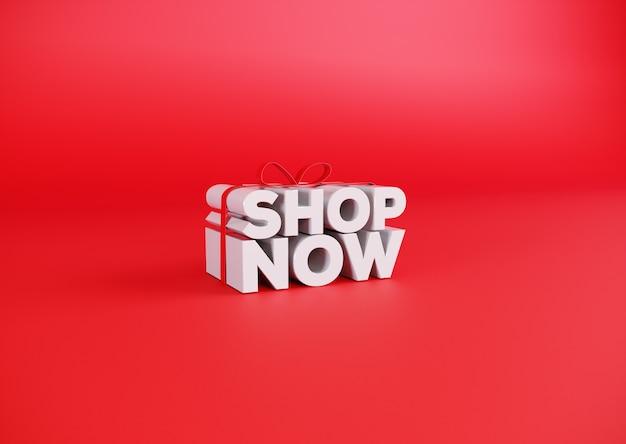 Achetez maintenant dans une boîte cadeau 3d enveloppée sur fond rouge