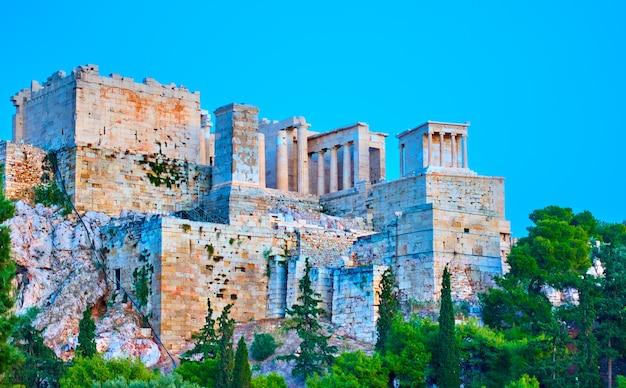 L'acropole d'athènes au crépuscule, grèce
