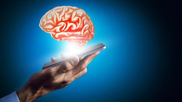 Activité cérébrale humaine avec des lignes de plexus