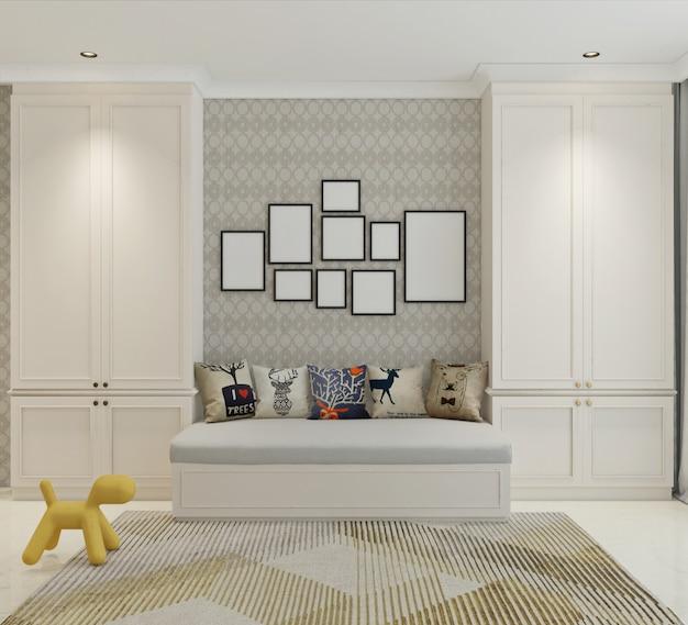 Activités ou salle de relaxation au design classique moderne. illustration 3d