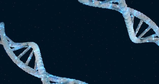 Adn 3d illustration structure de l'hélice d'adn molécule bleue science médicale génétique biologique