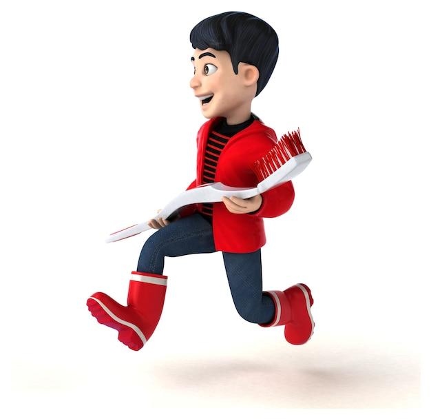 Adolescent de dessin animé 3d amusant avec une brosse à dents