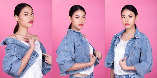 Adolescent de la mode asian woman tan peau cheveux bruns noirs belle haute couture maquillage veste jeans décontractée. studio éclairage fond rose isolé, concept de pack de groupe de collage