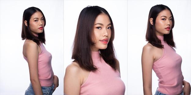 Adolescent de la mode femme asiatique peau bronzée cheveux bruns noirs belle haute couture maquillage décontracté rose vaste. studio éclairage fond blanc isolé, concept de pack de groupe de collage