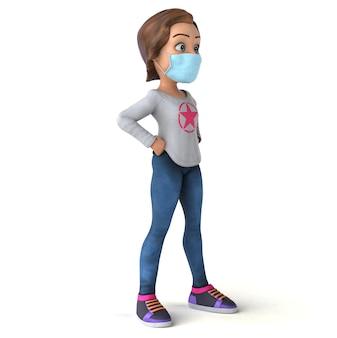 Adolescente amusante de dessin animé 3d avec un masque