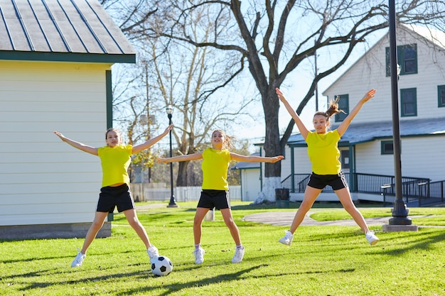 Adolescentes, exercice, séance, parc