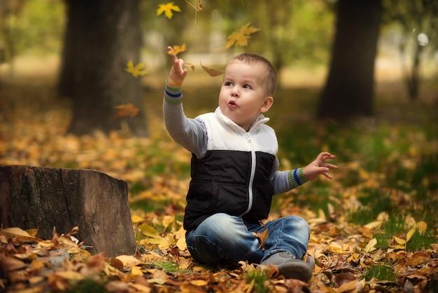 Adorable garçon heureux jetant les feuilles tombées, jouant dans le parc en automne