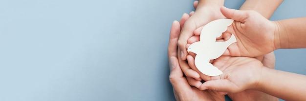 Adulte et enfant mains tenant oiseau colombe blanche