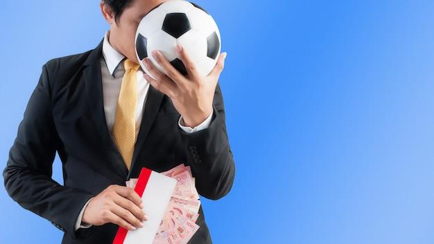 Affaires, tenue, football, ou, billet, et, argent