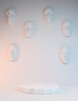 Affichage abstrait en marbre blanc pour le produit d'exposition avec le visage sur le mur, illustration 3d