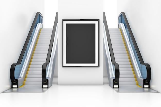 Affichage de la boîte de cadre, panneau d'affichage, affiche comme modèle pour votre conception entre les escaliers mécaniques de luxe modernes sur le centre commercial de bâtiment intérieur, l'aéroport ou la station de métro en gros plan extrême. rendu 3d