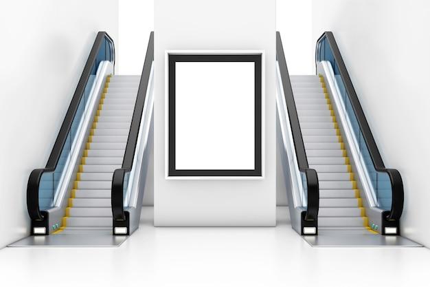 Affichage de la boîte à lumière, panneau d'affichage, affiche comme modèle pour votre conception entre les escaliers mécaniques de luxe modernes sur le centre commercial de bâtiment intérieur, l'aéroport ou la station de métro en gros plan extrême. rendu 3d