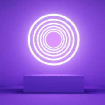Affichage couleur rose abstrait avec néon en forme de cercle sur violet