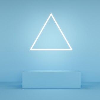 Affichage de couleur rose abstraite avec néon en forme de triangle sur bleu