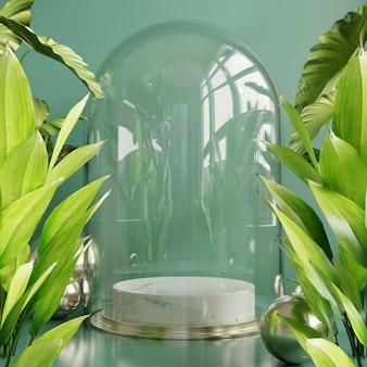 Affichage du podium avec fond de feuilles tropicales, mur