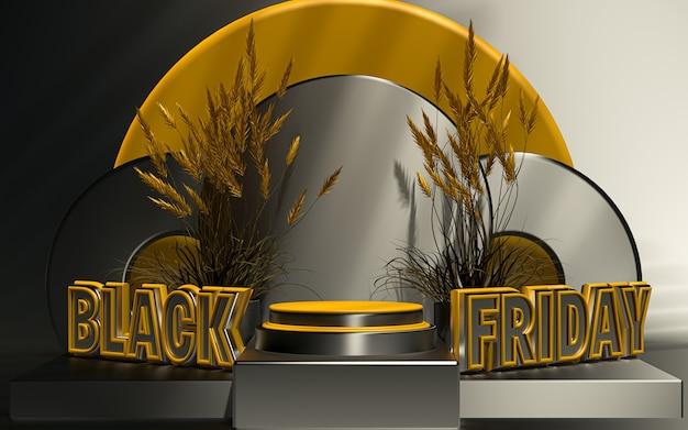 Affichage du podium de l'offre spéciale black friday pour le rendu 3d de la présentation du produit