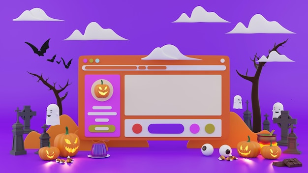 Affichage d'halloween sur fond de site web. rendu 3d.