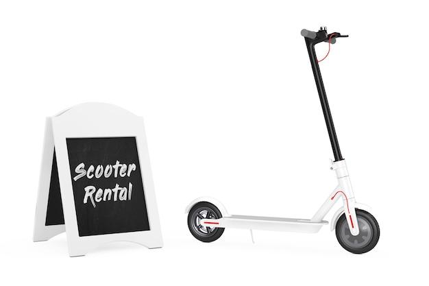 Affichage de location de vélo de tableau noir en plein air près du scooter électrique eco moderne blanc sur fond blanc. rendu 3d
