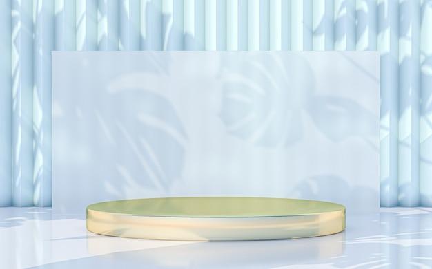 Affichage minimal du podium avec fond d'ombre de feuilles abstraites. rendu 3d