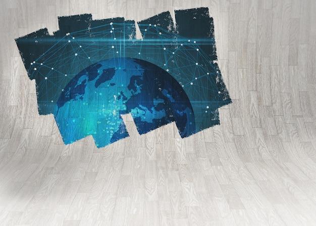 Affichage sur le mur montrant le graphique de la terre