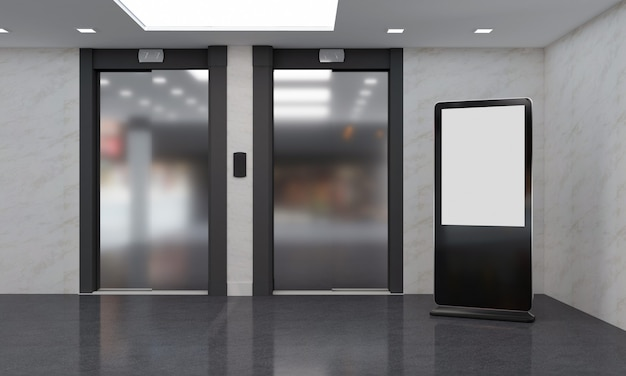 Affichage numérique de totem et de kiosque rendu 3d