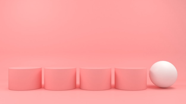 Affichage podium blanc de forme géométrique sur fond rose pastel