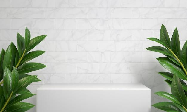 Affichage de podium blanc de maquette pour le produit d'exposition avec le rendu 3d de marbre de brique blanche