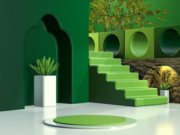 Affichage de podium en bois 3d avec feuille espace de copie fond vert stade de produit cosmétique