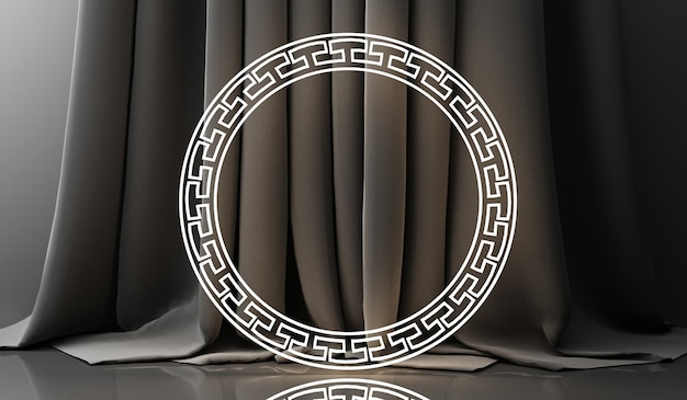 Affichage podium doré sur fond abstrait noir avec forme géométrique et présentation de la chine minimale de produit de rideau