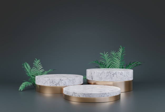 Affichage de podium de maquette pour la présentation de produits cosmétiques ou la plate-forme de vitrine