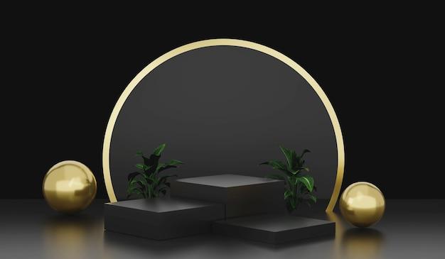 Affichage de podium ou de piédestal vide de rendu 3d sur l'étagère de produit foncée noire debout affichage de luxe