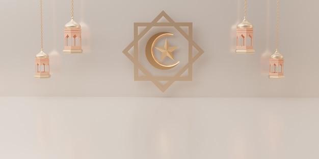Affichage podium de rendu 3d du concept de vente de produit eid mubarak