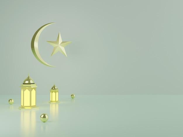 Affichage podium de rendu 3d du produit ramadan et eid mubarak