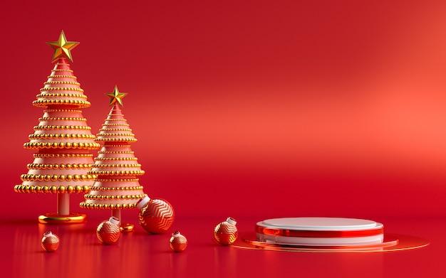 Affichage de podium rouge et or de luxe de joyeux noël d'hiver pour le rendu 3d de présentation de produit