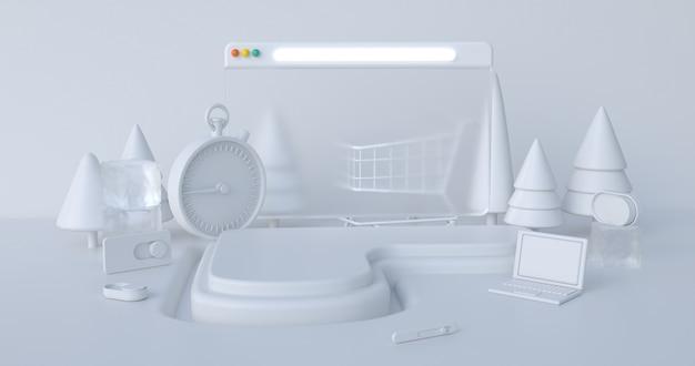 Affichage de podium de scène de rendu 3d de noël avec fond abstrait d'objets de noël.