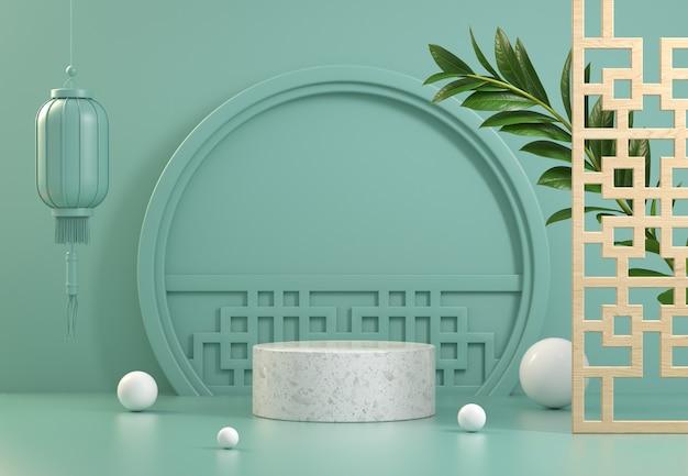 Affichage de stand de maquette avec fond abstrait de concept chinois rendu 3d