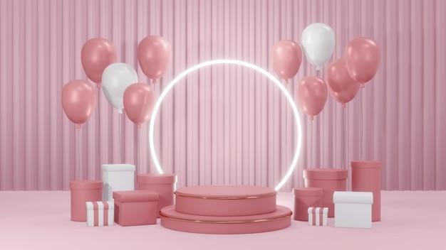Affichage de stand de produit de podium de rendu 3d et ballons et cadeaux pour la conception commerciale dans le thème rose