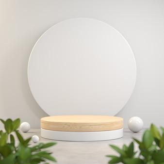 Affichage de support en bois vide sur fond blanc plante 3d render