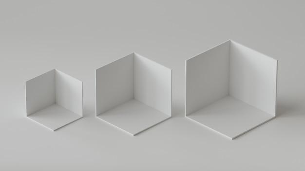 Affichage de la toile de fond des boîtes de cube blanc sur fond blanc. rendu 3d.