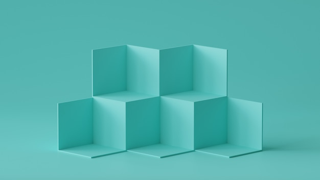 Affichage de la toile de fond des boîtes de cube sur fond de mur blanc. rendu 3d.