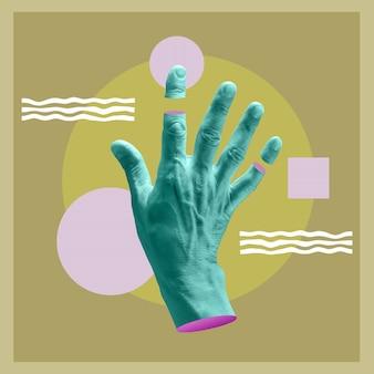Affiche d'art conceptuel moderne avec une main dans un style pop surréaliste. collage d'art contemporain.