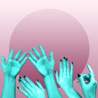 Affiche d'art conceptuel moderne avec des mains dans un style pop surréaliste. collage d'art contemporain.