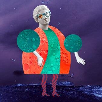 Affiche d'art conceptuel moderne avec une poupée amusante dans un style pop surréaliste. collage d'art contemporain.
