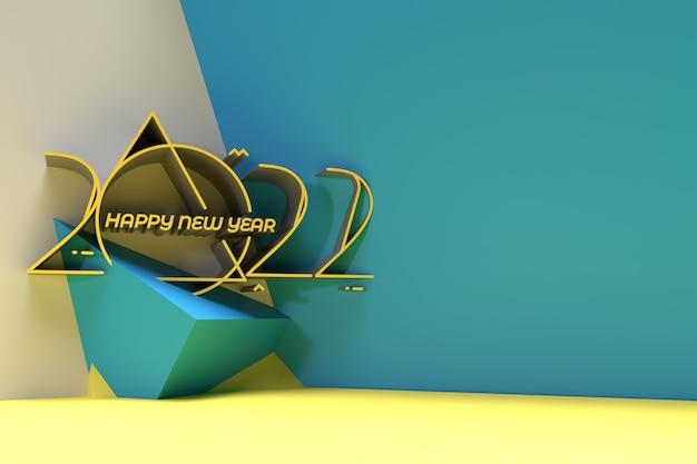 Affiche de bannière de conception de typographie de texte 3d happy new year 2021, conception d'illustration de rendu 3d.