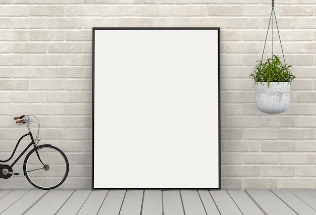 Affiche cadre simulé avec des plantes vertes sur fond de mur de briques blanches. rendu 3d