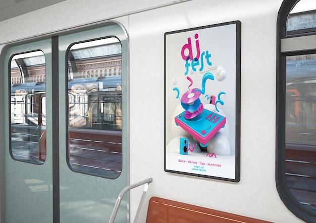 Affiche de dj fest sur un train rendu 3d