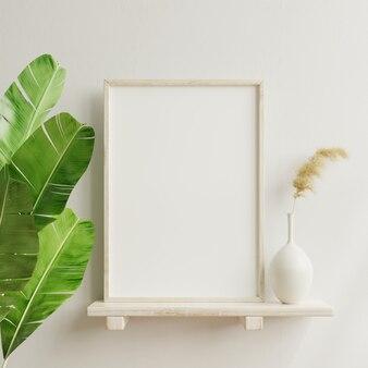 Affiche intérieure avec cadre en bois vertical à l'intérieur de la maison avec vase