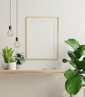 Affiche intérieure avec cadre en bois vertical à l'intérieur de la maison