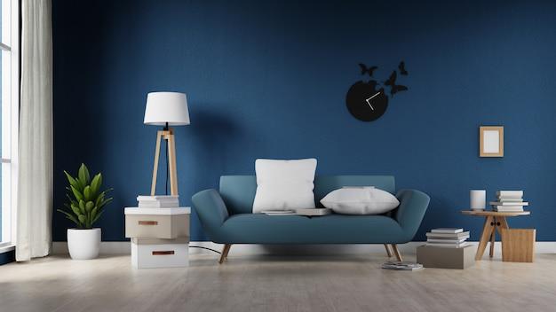 Affiche intérieure maquette salle de séjour avec canapé blanc coloré. rendu 3d.